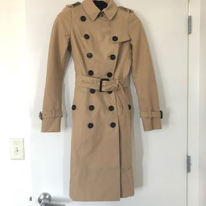 New Burberry Prorsum tan twill trench coat XS 34